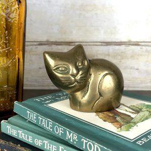 Vintage Round Brass Sitting Kitty Cat MidMod Decor
